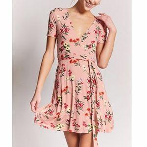 Floral Surplice Wrap Skater Dress Short Sleeve